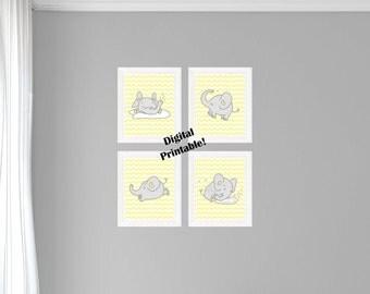 4 Elephants - Light Gray and Light Yellow - Digital Printable