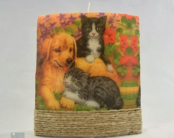Best Friends - Large Ellipse Decoupage Pillar Candle