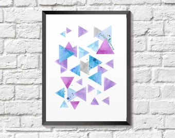 Triangle Watercolor, Geometric Print, Triangle Print, Geometric Art, Colorful Triangle Printable, Triangle Printable, Instant Download