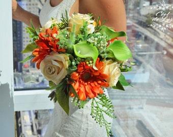 Wedding Bouquet, Gerbera Daisy Bridal Bouquet, Rose Bouquet, Realistic Silk Flowers, Wedding Flowers, Bridal Bouquet, Orange Bouquet