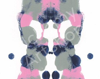 Rorschach 12, Original Art Print, Ink Blot, Abstract, 5x7, 8x10 and 11x14