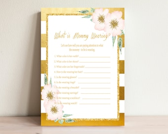 What is mommy wearing, Baby shower games, Gold & Pink,Mommy clothes game,Baby shower activities,Whats mommy wearing,Games printable,Gold-001