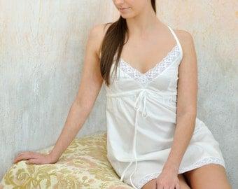 White Rose - white cotton sateen night dress/slip