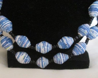 Long Blue Recycled Paper Necklace