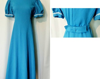 CLEARANCE! Blue 60s Floor Length Gown with Belt Bow