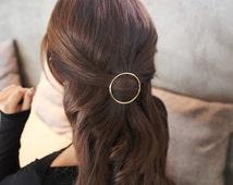 Gold Circle Hair Clip. Triangle Hairpin. Boho Hair Clip, geometric hair accessories, minimalist hair accessories