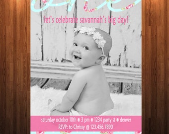 Shabby Chic Birthday Invitation, Girl Birthday Invitation, One year old invitation,