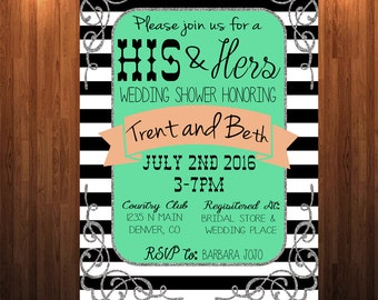 His and Hers wedding shower Invitation, Couple's shower invitation, wedding shower invitation