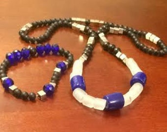 Blue Night's Sky Set (Necklace and Bracelet)
