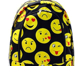 Embroidered Emoji Backpack- Personalized Gift-Monogram Backpack-Personalized Backpack-Embroidered Backpack-Monogrammed Backpack