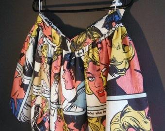 Handmade Comic Strip Skater Skirt - Size M 12 14