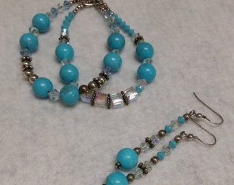 Double strand Sleeping Beauty Turquoise and Crystal Bracelet