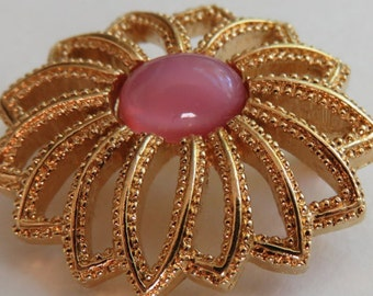 Vintage Monet Brooch Vintage Jewelry Monet Gold Tone Pin Vintage Costume Jewelry Pink Accent Gold Tone Flower Pin