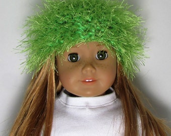 """18"""" Doll Clothes fit American Girl Crocheted Wild & Crazy Fun Fur Hat LIME GREEN"""