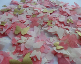 Gold Coral Blush Mix Butterfly Biodegradable Tissue Paper Confetti Wedding Party