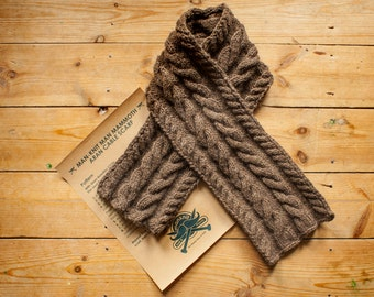 ManKnit Man Mammoth Aran Scarf Knitting Pattern - Men Cable Knitted Scarf Pattern PDF