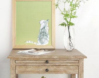 Cat Lover Gift, Colorful Art, Wall Décor, Wall Art, Animal print, Art Print, Green Print, Nursery Wall Art, Nursery Print, #536CA