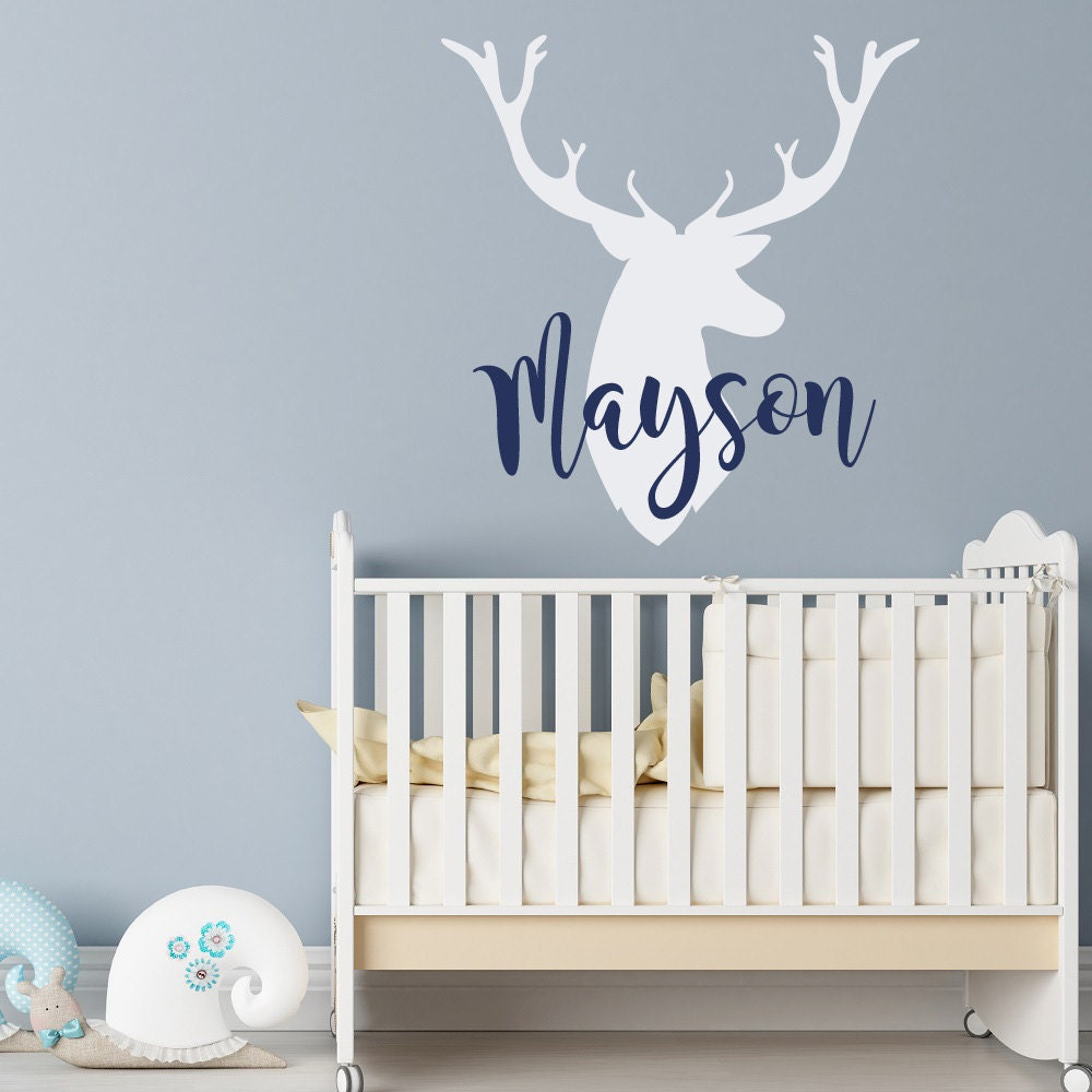 Personalized deer antlers name wall decal rustic nursery zoom amipublicfo Choice Image