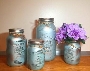 Light blue mason jar kitchen canister set, mason jar decor kitchen containers, jar organization, old farmhouse decor, rustic decor