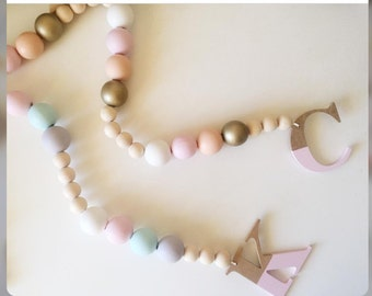 Garland with original natural wood and color customizable.