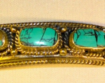 Silver and Turquoise Moroccan Bracelet