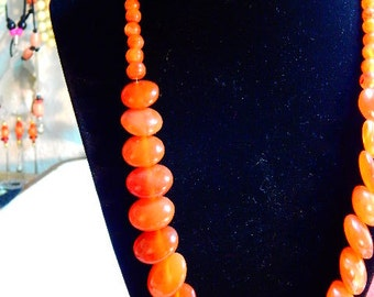 orange agate necklace 22 inch
