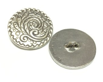 Danforth Rosemail Button- Silver Button- Lead Free Pewter- Metal Button- 27mm
