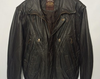 Vintage Black Leather Jacket with removable sleeves