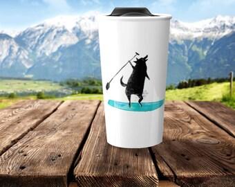 ceramic travel mug, coffee mug, wolf gift, nautical gift, gift for kids, wolf, sports gift, ocean, beach mug, coffee lover, beach gift