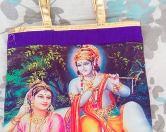 Krishna Radha Silk and Satin Purple Gold Tote