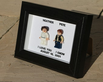 Lego I Love You I Know Framed Han Leia Star Wars Mini Figures Anniversary Gift Minifigures Wedding Anniversary Personalized UK USA Canada E