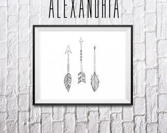 Arrows print, digital print, download, wall decor, home decor, art, simplistic print, arrows set