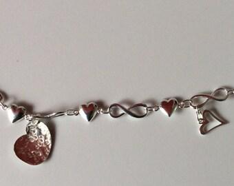 Sterling Silver infinity heart charm bracelet