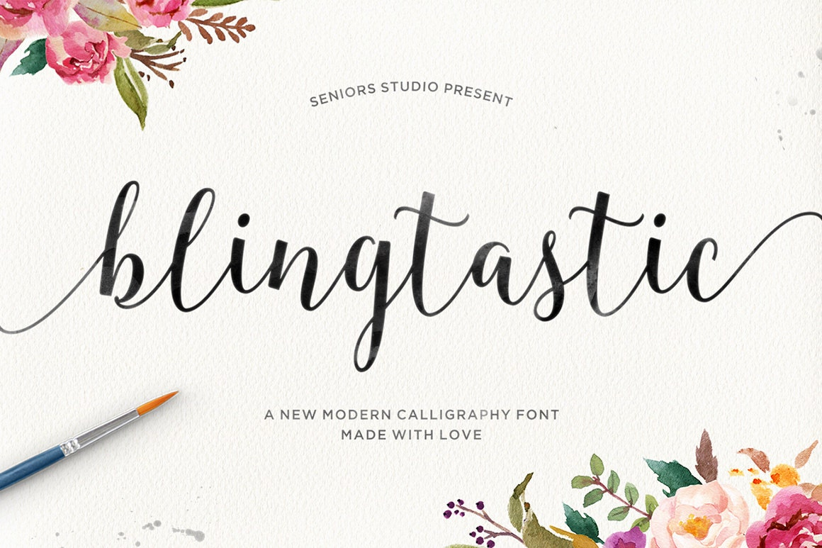 Calligraphy Fonts: Blingtastic Script Modern Calligraphy Font Script Font
