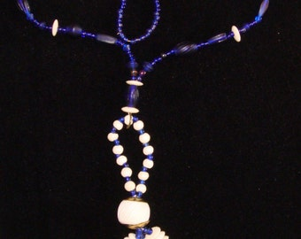 Royal blue and bone tassel necklace