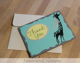 10 Pack Thank Cards with Envelope - Giraffe - Made to Order