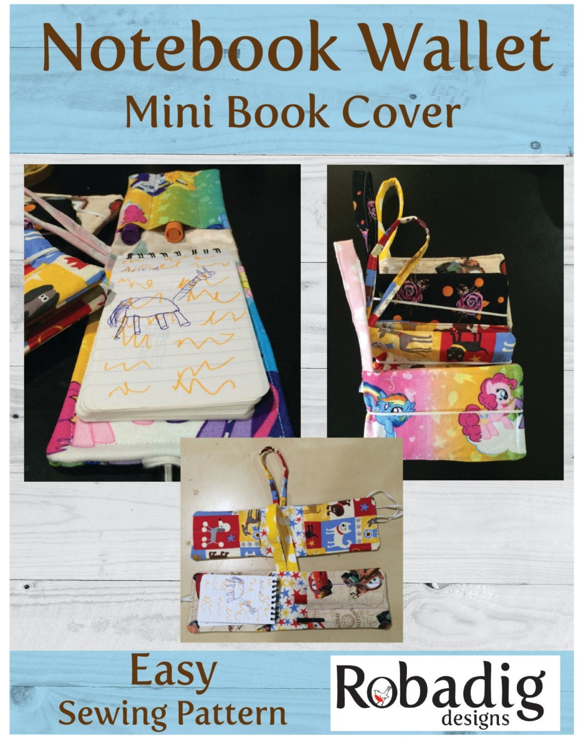 Plunket Book Cover Pattern ~ Notebook wallet mini book cover sewing pattern art case