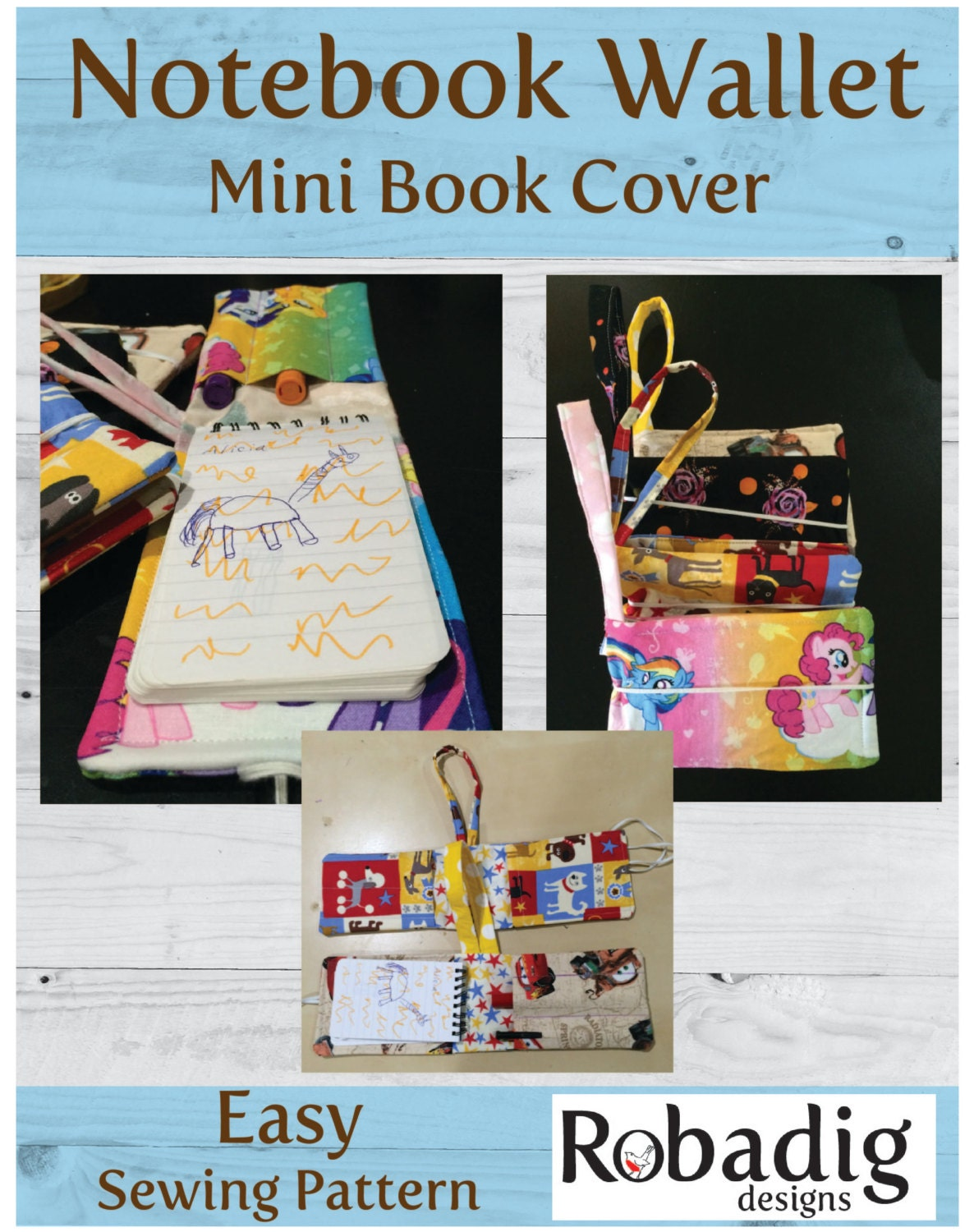 Book Cover Sewing Pattern : Notebook wallet mini book cover sewing pattern art case