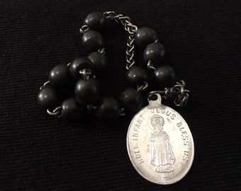 Vintage black beaded chaplet of the Infant Jesus, made in France