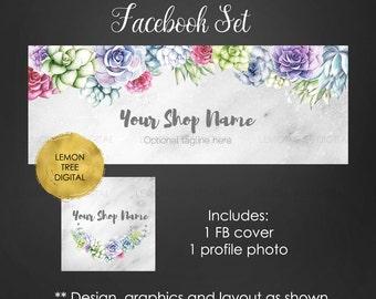 Floral facebook set, facebook cover, facebook timeline cover, succulents cover, succulents, facebook, facebook set, succulents facebook set