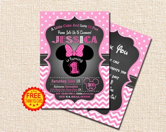 MINNIE MOUSE INVITATION, 1st Birthday Invitation, Minnie Mouse Birthday Invitation, Minnie Mouse Birthday, Minnie Mouse