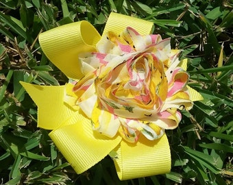 Yellow Flower Pattern Rose Bow #235