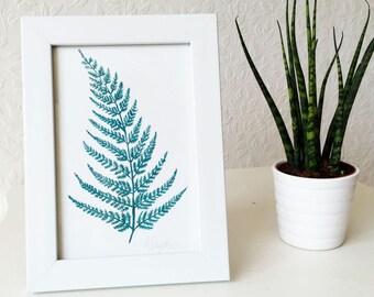 Fern Print, Fern Illustration, Fern Leaf Art, Botanical Print, Botanical Illustration, Botanical Painting, Tropical Leaf print