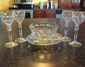 Vintage Cordials, Crystal Cordials, Gatsby Style, cordials with matching sugar bowl