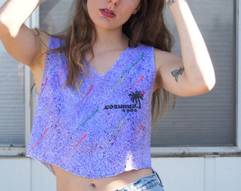 80's Purple Cozumel V Neck Crop Top Colorful Paint Splatter Neon Retro Cool Summer Palm Tree West Coast