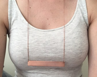Textured Copper Bar Necklace (Long Chain)
