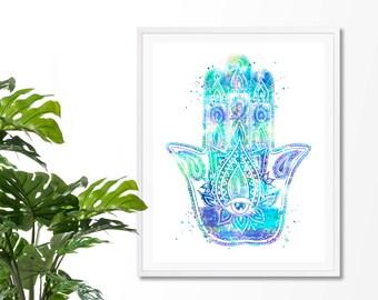 Hamsa  Hand 5  Watercolor Art Print, Hamsa Wall Art, Poster, Giclee,  Home Decor, Protective Hand, Yoga, Zen decor