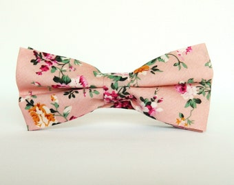 Pink floral bow tie floral Pre-Tied bow tie gift for him Wedding Pink bow tie