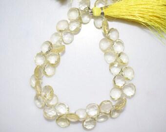 Natural Lemon Quartz Heart Shape Faceted Beads -Lemon Quartz Heart Shape Briolette , 7x7-9x9 mm ,  BL669