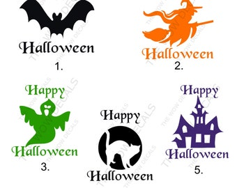 """One Color """"Happy Halloween"""" Vinyl Decal, Pumpkin Decal, Yeti Cup, SIC Cup, RTIC Cup, Car Window Decal, Laptop Decal, Vinyl Decal, Etc..."""